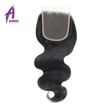 Alimice Brazilian Body Wave Lace Closure Free Part 4x 4 Non-Remy Hair 120% Density Lace Natural Color 100% Human Hair