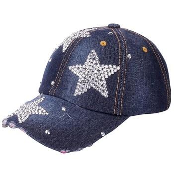 Women's adjustable five-pointed star baseball cap ladies fashion casual rhinestone denim baseball mesh hat casquette femme 4