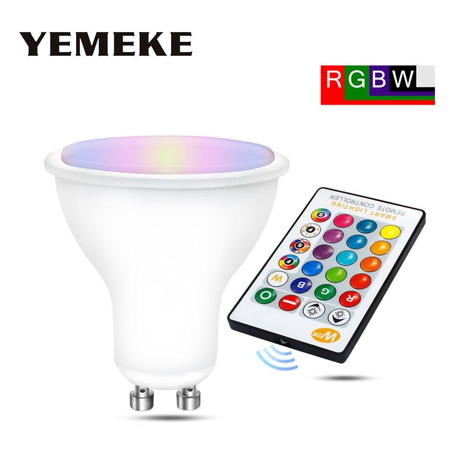 AC85-265V RGB Led מנורת 8 w 550Lm קסם RGBW GU10 ספוט אור Dimmable צבעוני Led RGB Lampada חיסכון באנרגיה אור עם IR מרחוק