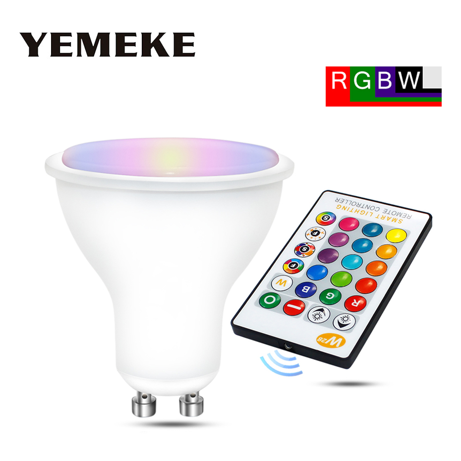 AC85-265V RGB Led Lamp 8W 550Lm Magic RGBW GU10 Spot Light Dimmable Colorful Led RGB Lampada Energy Saving Light With IR Remote e27 led rgb magic lamp lamp 6w ac85 265v 220v rgb led light spotlight ir afstandsbediening controle and white white