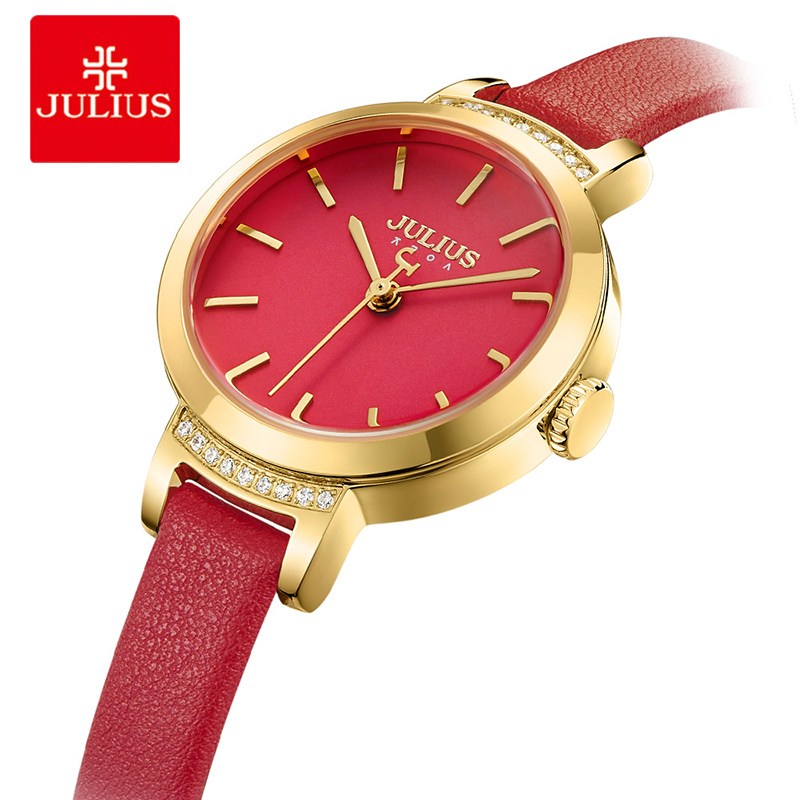 Julius Crystal Small Dial Ladies Watches Red Thin Leather Stra Women Quartz Wristwatch Female Bracelet Watch Relogio Feminino julius women quartz clock watches stainless steel mesh belt ladies bracelet wrist watch thin dial female watch relogio feminino