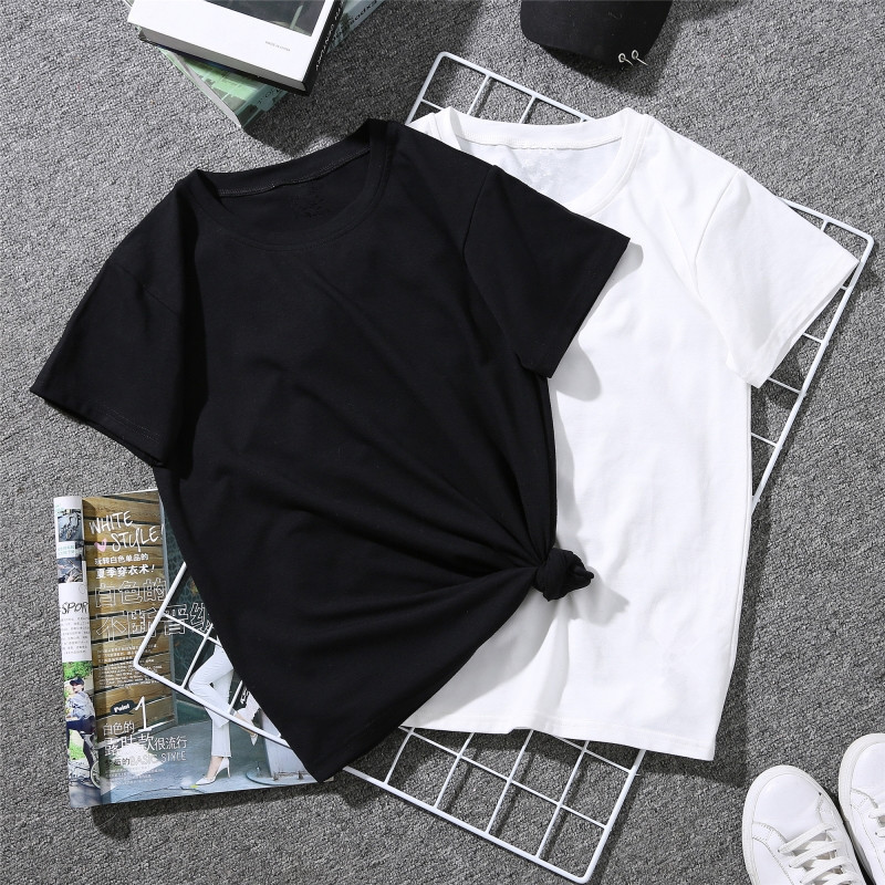 JIANWEILI Summer T shirt women solid loose casual simple no printing harajuku Short Sleeves T-shirts tshirt Tops Tee plus size