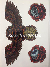 Fashion Owl Skull And Eye 21 X 15 CM Sized Sexy Cool Beauty Tattoo Waterproof Hot Temporary Tattoo Stickers #107