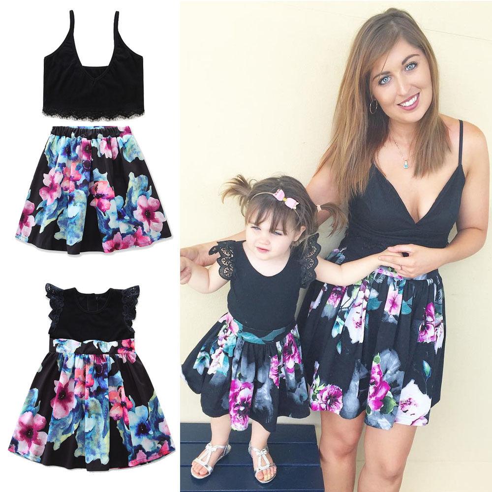 Passenden Outfits Kleider Mutter Tochter Beiläufiges Sleeveless ...
