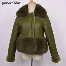Top Quality Womens Genuine Sheepskin Leather Jacket Fox Fur Collar Coat Winter Thick Warm Outerwear S7421