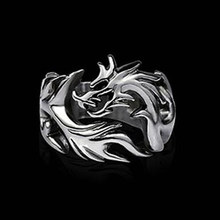 Fashion Jewelry Stainless Steel Solid Inside Dragon Rings Men biker ring personalized gift(China)