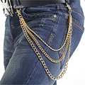 Mens 3 Strands Golden Hiphop Trousers Wallet Key Chain Three Layers  Punk Rock Style Jeans Chain Hip Hop
