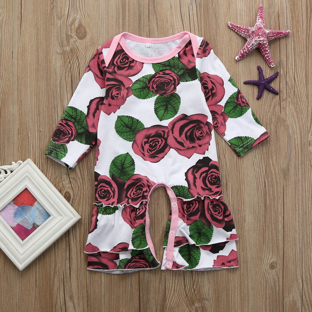 ISHOWTIENDA Floral Print Ruffle baby bodysuit long sleeve Romper baby jumpsuit baby winter clothes baby overall sliders for girl