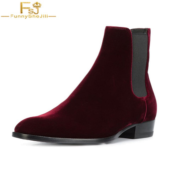 FSJ Fashion Wine Red Ladies Winter 2020 Comfort Fashion Velvet Ankle Chelsea Boots Round Toe Shoes Booties Casual Work Woman