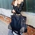 Gran Capacidad de Lujo Mujeres de Los Bolsos Diseñador Remache Punky Negro bolso Negro de Cuero de Las Mujeres Bolsos Crossbody Famosa Marca Sac À principal
