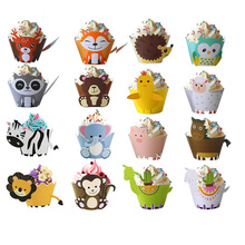 Woodland Animal Cupcake Wrappers Forest Friend Owl Fox Bear Deer Alpaca Cake Topper Jungle Party Kids Birthday Party Decoration