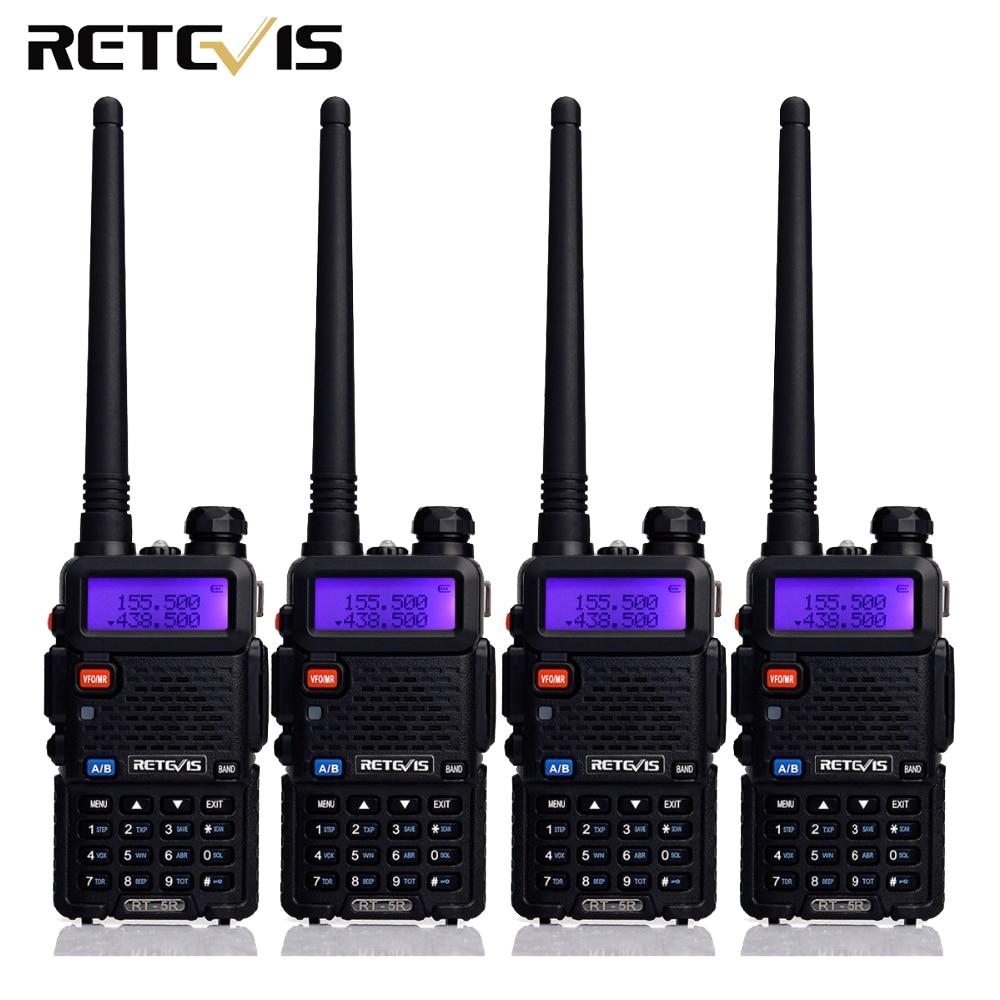 4 pcs Two Way Radio Talkie Walkie Retevis RT-5R RT5R 5 W 128CH VHF UHF Dual Band FM Radio VOX Balayage Portable Amateur Radio Station