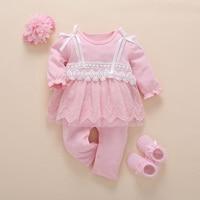 Baby Girl 3pcs Set Romper Dress Hairband Socks Newborned Princess Fashion White Pink Cotton Jumpsuit Infant