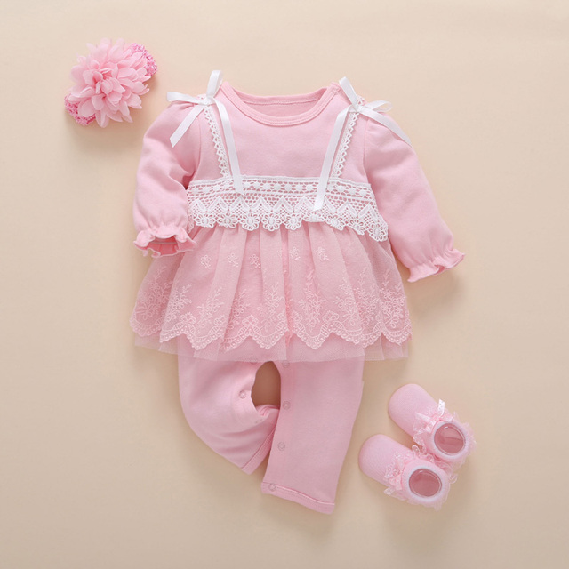 b48bdd06f5ab Baby Girl 3pcs Set Romper Dress+Hairband+Socks Newborned Princess Fashion  White Pink Cotton Jumpsuit Infant Outerwear Clothing