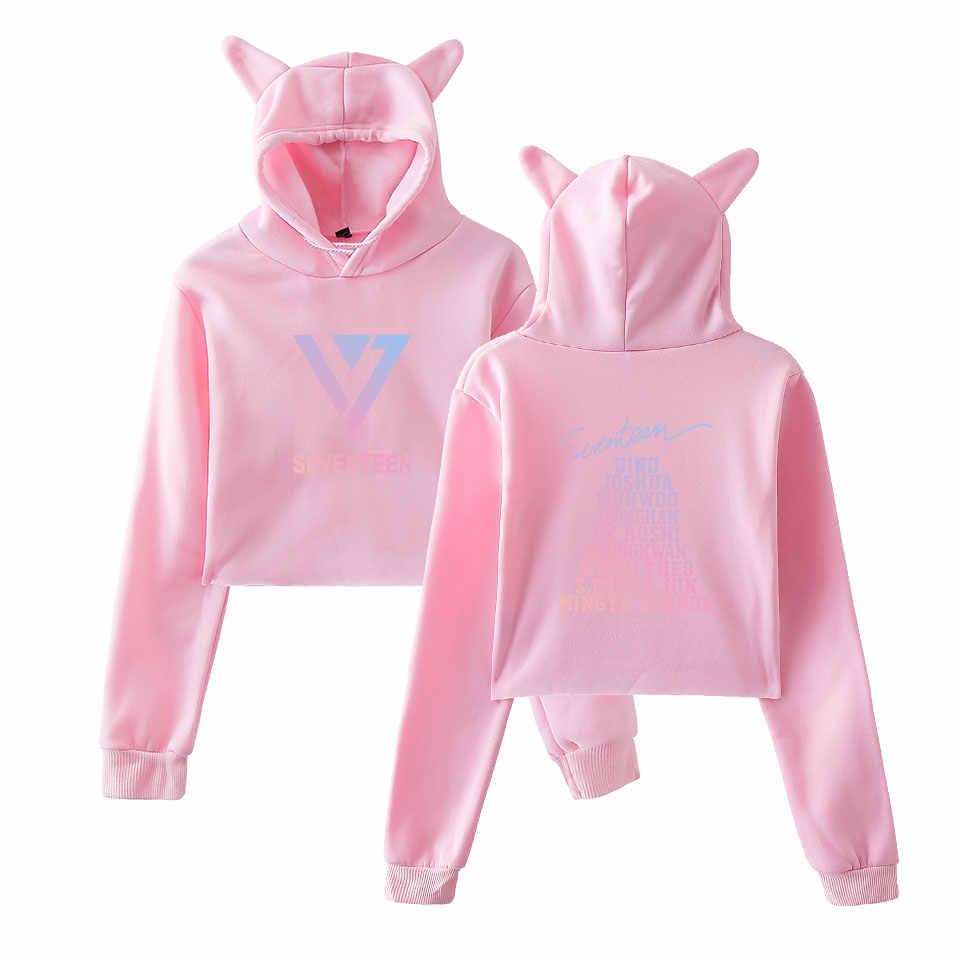 Новая Мода Kpop BLACKPINK девушки горячие кошачьи уши кепки короткие сексуальные толстовки женские сексуальные открытый пупок K-Pop хип хоп пуловер Топы
