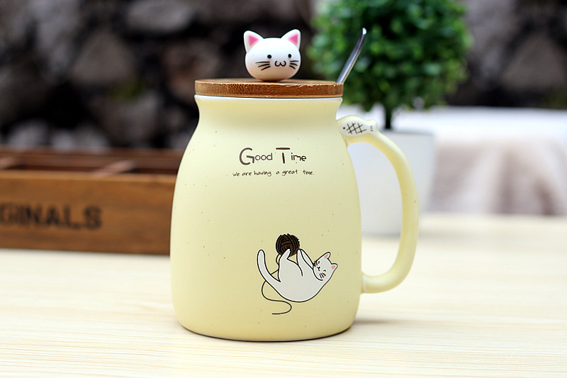 New Kitten Cat Ceramic Coffee Mug with Lid