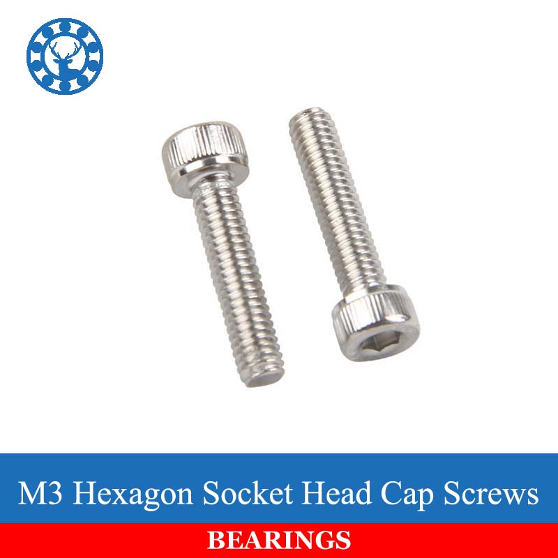 50Pcs M3 DIN912 304 Stainless Steel Hexagon Socket Head Cap Screws Hex Socket Screw Metric Bike Screw Free shipping 2pc din912 m10 x 16 20 25 30 35 40 45 50 55 60 65 screw stainless steel a2 hexagon hex socket head cap screws