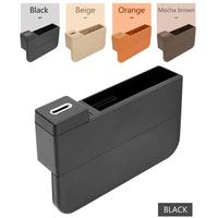 Multi functional Car Seat Gap Storage Box 2 USB Wireless Charging Car card coin Storage box car organizer