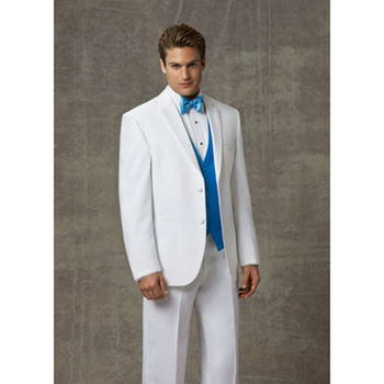 Custom Made Groom men suit Tuxedo Groomsmen White Wedding Dinner Evening Suits Best Man Bridegroom (Jacket+Pants+Tie+Vest)