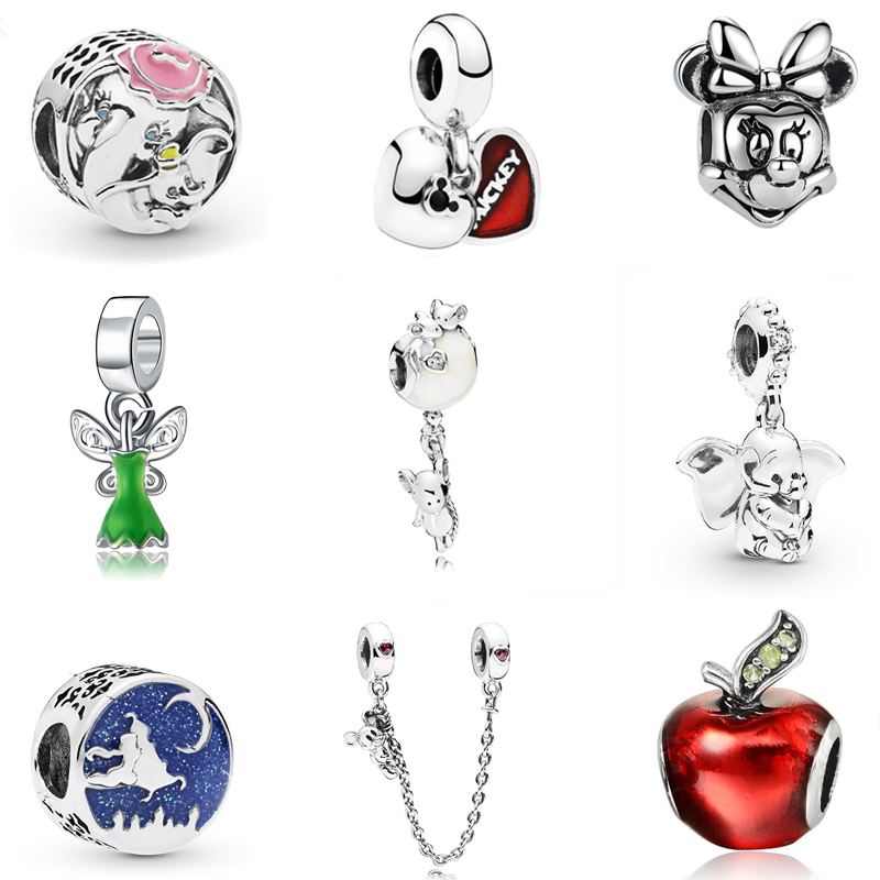 925 SILVER PLATE LOVELY 3D SILVER MINNIE MOUSE CLIP-ON CHARM FOR BRACELETS