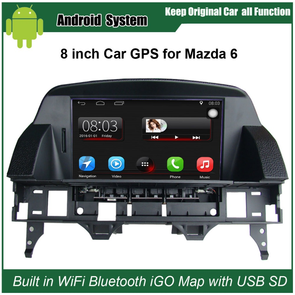 Upgrated Multimedia Radio GPS Navigation for Mazda 6 M6 (2002-2008) Car Video Player with WiFi Bluetooth Smartphone Mirror-link