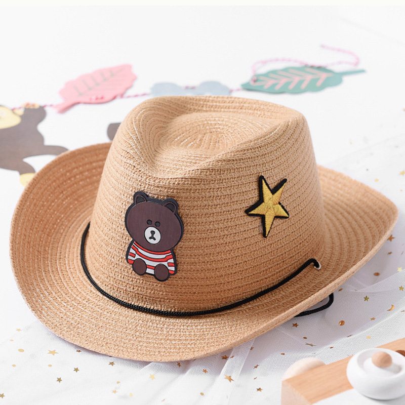 Reasonable 2018 New Children's Straw Cap Baby Summer Sun Hat Cute Bear Star Patch Bucket Cap Lovely Kids Fishmen Hat For Boy Girls