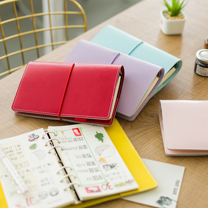 2017 New Korean Kawaii Macaroon High Quality Leather Business Office Binder Lined Notebook School Stationery Agenda Planner A6 like a virgin secrets they won t teach you at business school