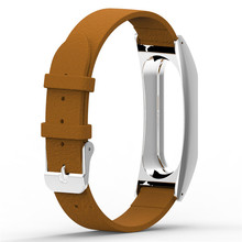 Adjusted Softness Sturdy Leather Replacement Wristband Band Strap + Metal Case Cover For Xiaomi Mi Band 2 Bracelet Wholesale