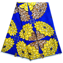 Polyester LBLD-51 New design african wax fabric,Blue&yellow printed fabric ankara /kitenge/pagnes 6 yards