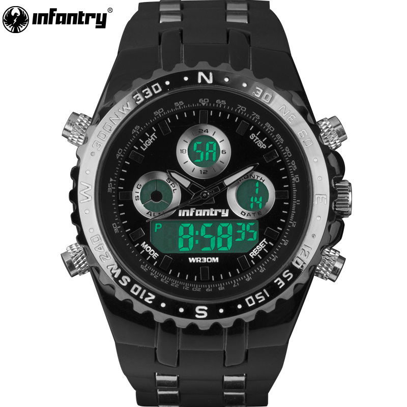 INFANTRY Mens Watches Pilot Reloj Digital Sports Watches Fashion Luxury Brand watches, silicone Chronograph Alarm 30M Waterproof