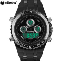 INFANTRY Military Watch Men Pilot Digital LED Wristwatch Mens Watches Top Brand Luxury Army Black Silicone Relogio Masculino