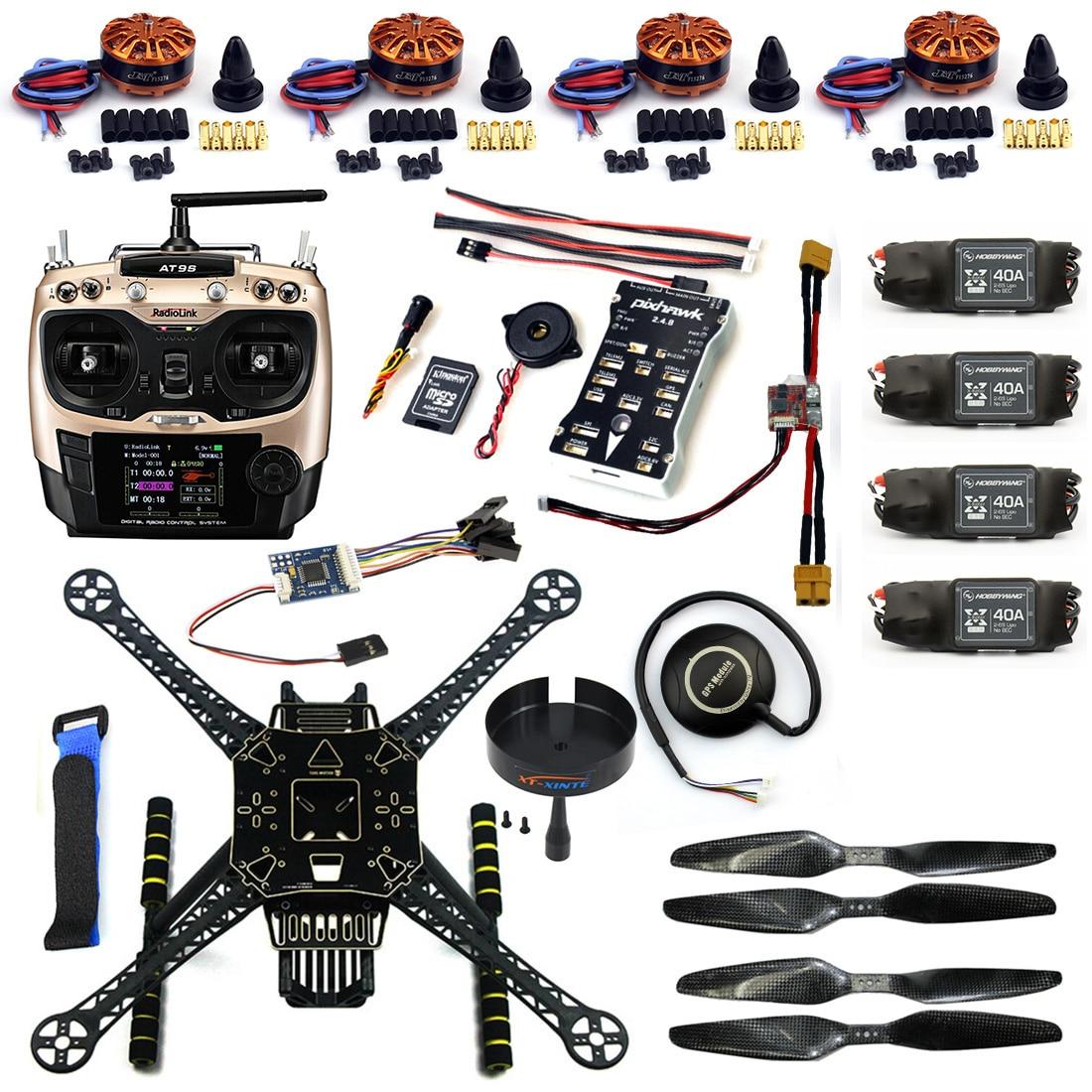 F19457-B DIY FPV Drone Kit S600 4-Axle Frame 40A ESC with 700KV Motor Pix 2.4.8 Flight Control AT9S Transimitter GPS XT60 Plug цена 2017