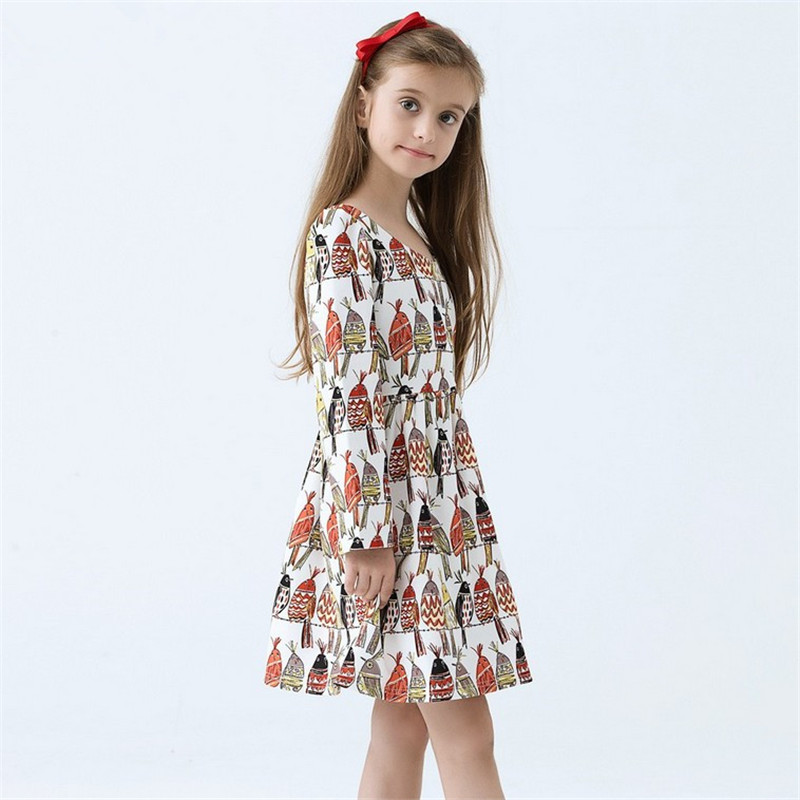 2-12Years Girls Dresses 2016 New Spring Summer Birds Kids Girls Clothes Children Dress Baby Toddler Dress Girls Costume Clothing