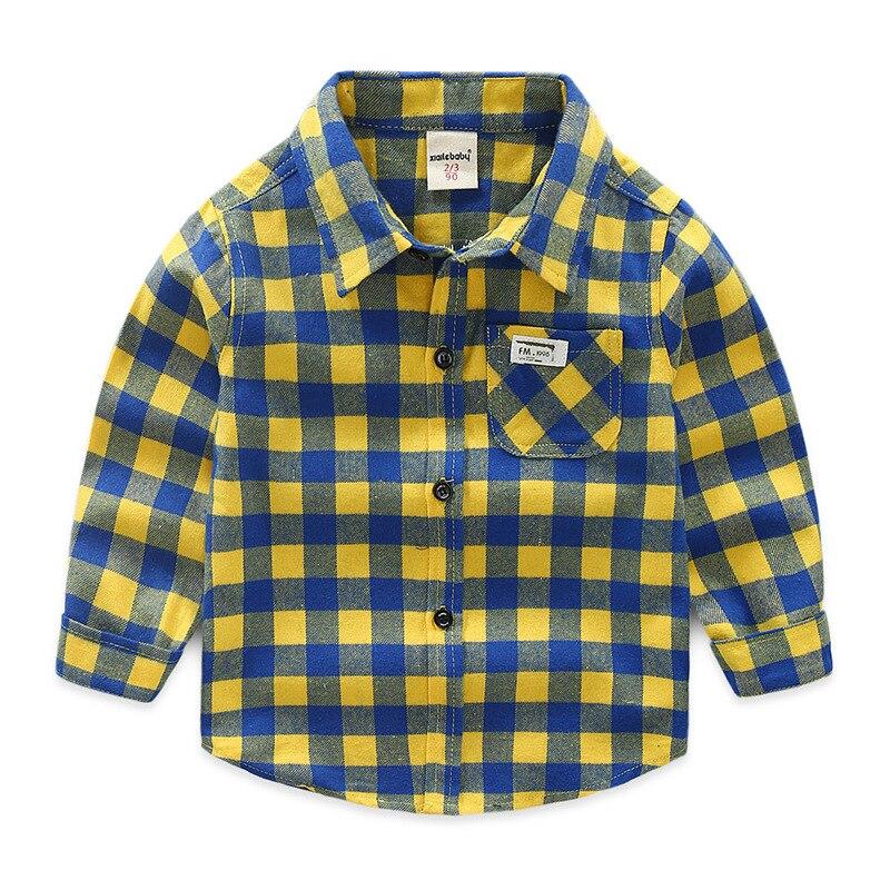 100% Wahr Kinder Lange Hülse Hemd Baby Kleidung Jungen Plaid Shirts Drehen-unten Kragen Baby Mädchen Hemd Baumwolle Baby Bluse GüNstigster Preis Von Unserer Website