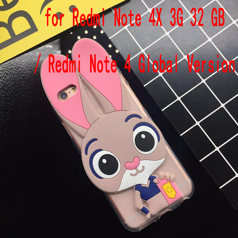 4b4d31d0a8 3D Cute Pink Rabbit Case for Xiaomi Redmi Note 4X 3G 32 GB/ Redmi Note 4  Global Version Soft Silicone TPU Cartoon Back Cover
