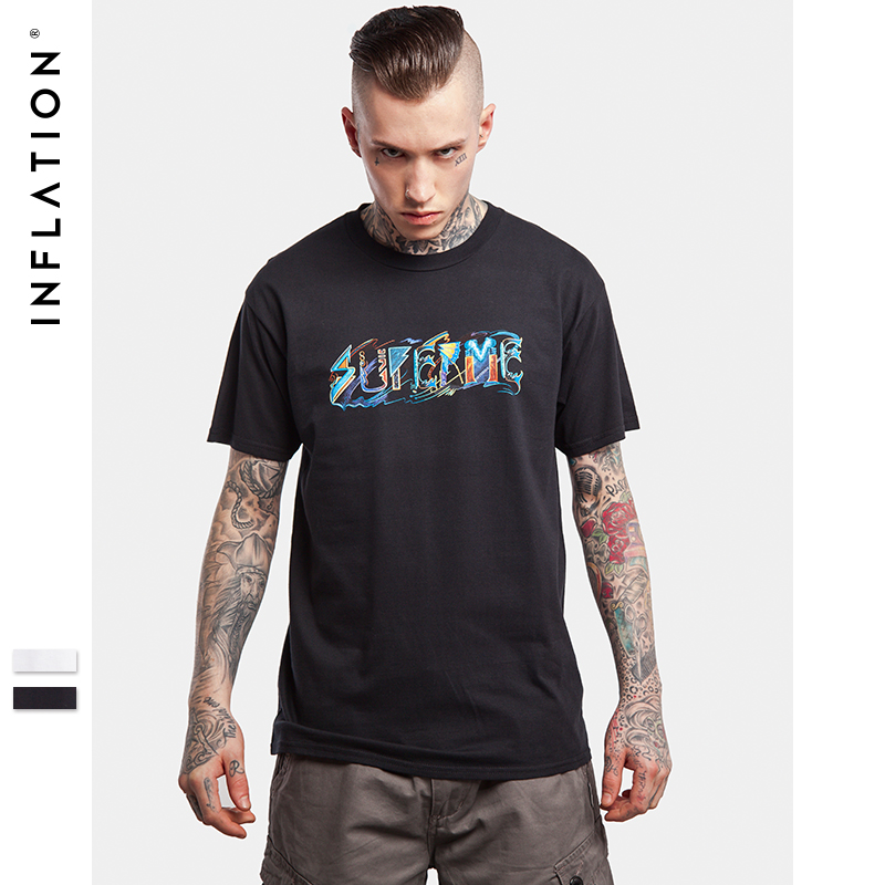 646e40567 INFLATION 2017 Mens Hip Hop Graphic Tees Men Streetwear Top Tees Casual  Cotton T Shirt -in T-Shirts from Men's Clothing on Aliexpress.com | Alibaba  Group