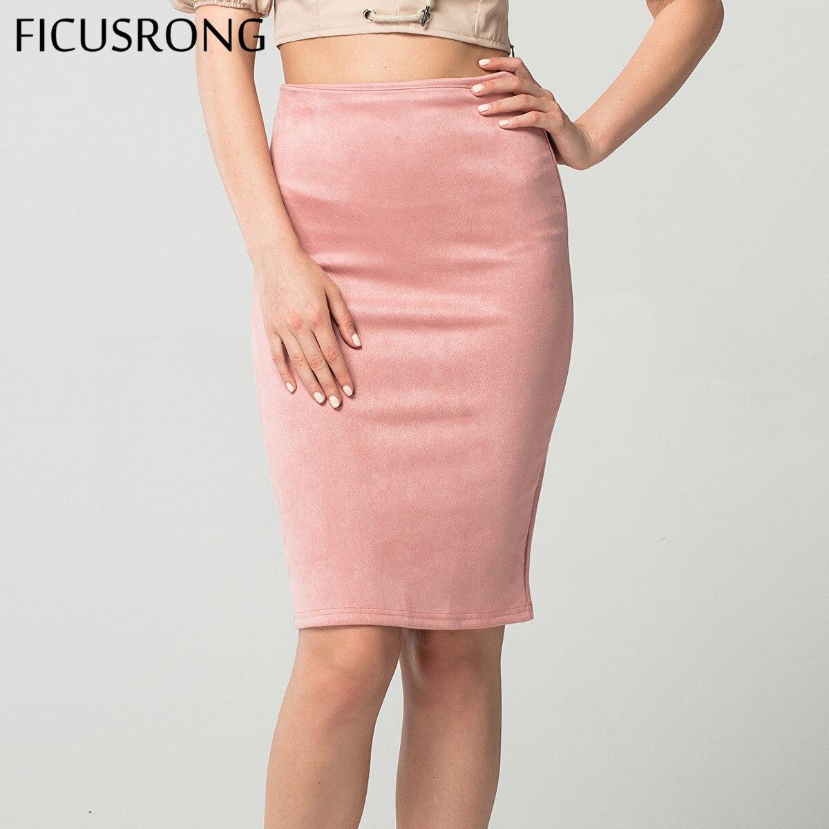 Las faldas de las mujeres de gamuza sólido lápiz Falda Mujer Otoño Invierno alta cintura Bodycon Vintage Split gruesa elástica faldas FICUSRONG