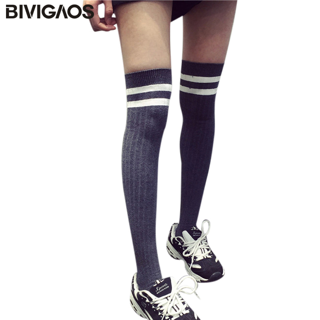 d12902253 Womens Harajuku Spring New Striped Knee Socks Sexy Stockings Lanky Long  Socks Cotton Sock Knee High