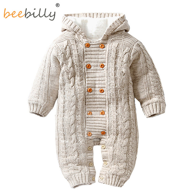 cb656405e095 Thick Warm Infant Baby Rompers Winter Clothes For Newborn Baby Boy Girl  Jumpsuit Hooded Knitted Sweater