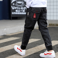 2019 Big Boy's Jeans Cotton Fashion Teen age High Quality boy pants Elastic Trousers Full Length Appliques Size 100 160