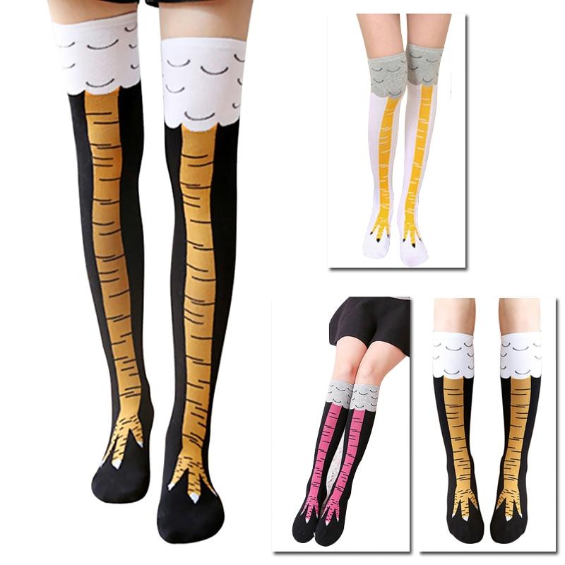 Носки женские выше колена с рисунком курицы, хлопковые высокие носки с забавным 3D-принтом животных, креативные Мультяшные куриные когти