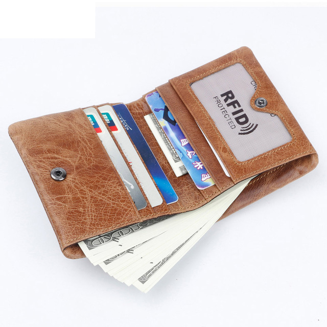 Fashion Vintage BIFOLD brand leather MEN wallets cowhide zipper SHORT money wallet hasp card holder small coin purse Card Holder
