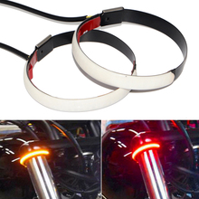 Motorcycle LED Turn Signal Car Front Fork Shock Absorber Two-color Light Guide Ring Universal Style motorcycle front shock absorber construction js125 6b