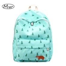 Колледж ветер лес печать рюкзак мультфильм животных вышивка рюкзак дорожная сумка школьные сумки для подростков мальчиков девочек