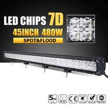 Oslamp 480W 45inch 7D LED Offroad Light Bar Combo Led Work Light Bar 12v 24v ATV Boat Pickup Truck SUV 4x4 4WD Led Driving Lamp