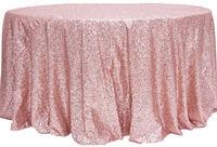 ShinyBeauty Pembe Round-108-inch Pullu masa Örtüsü Kaplamaları, Yuvarlak Masa Örtüsü Için Pasta Tatlı Tablo-R