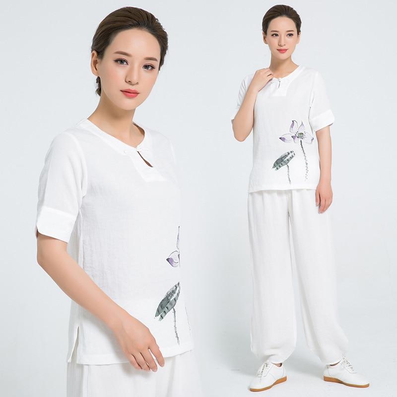 Tai Chi Suit Short Sleeve Summer Unisex Taiji Kung Fu Uniforms Martial Arts Exercise Clothes Clothing White Bardagalist Sett