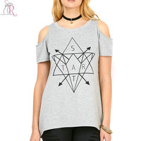 Casual Gray Cold Shoulder Geometric Letter Print T shirt Women 2018 New Summer Cotton Short Sleeve Tee Top Female Plus Size