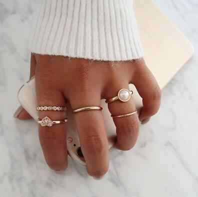 5 pcs/set New Fashion Heart Pearl Rings for Women Gold Color Crystal Rings 2019 Knuckle Rings Female party Gift Jewelry