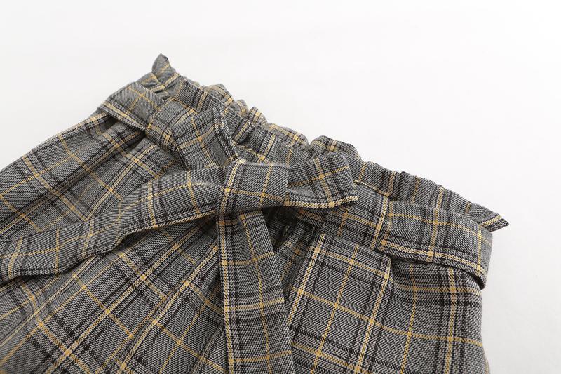 6a183b900955d6 JYSS herfst nieuwe casual hoge taille broek vrouwen riem geel plaid grijs  geruite broek enkellange skinny broek vrouwen 81221 ...